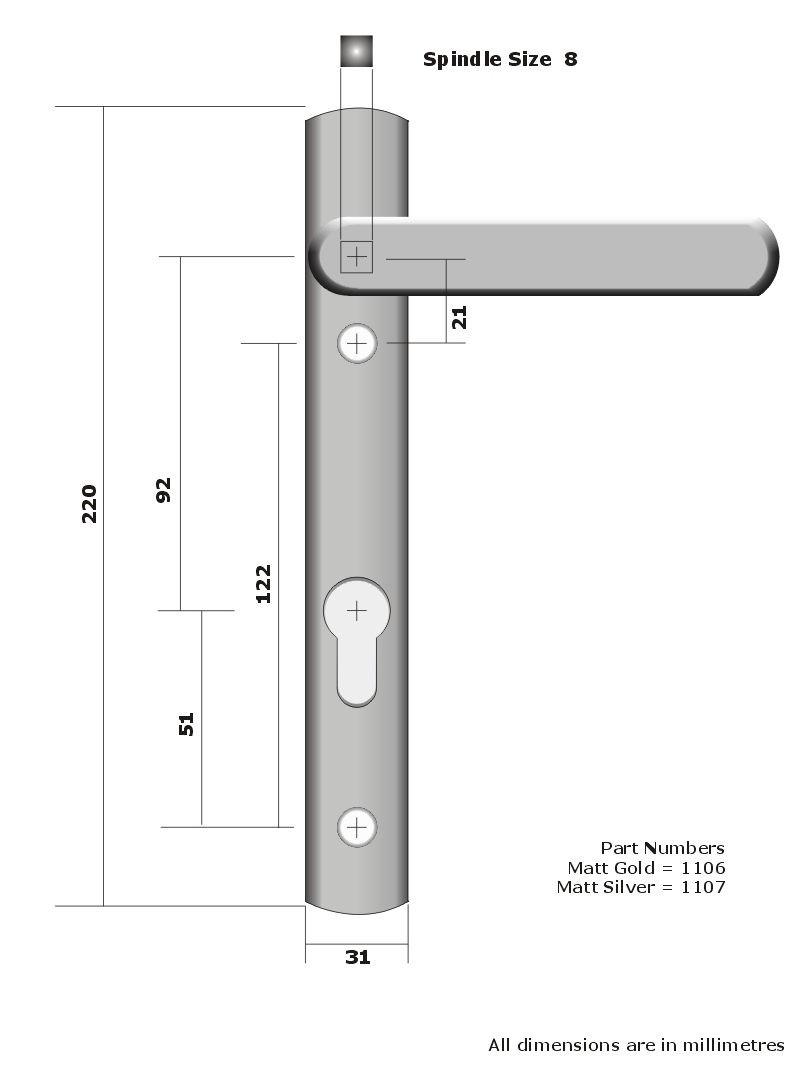 Mila Upvc Matt Gold or Matt Silver Door Handle 123mm Screw Fix