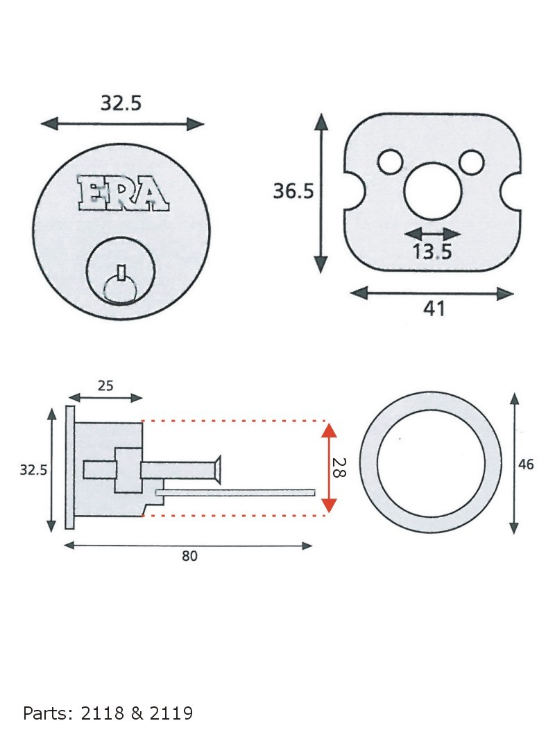 Details about ERA Saracen Yale Latch Type Round Rim Door Lock Cylinder