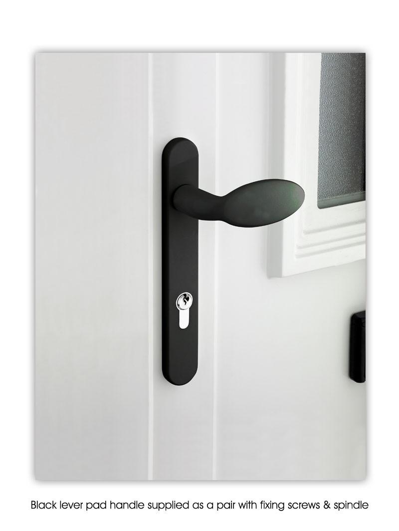 Mila Sprung Lever Pad Upvc Door Handles 211mm Screw Fix