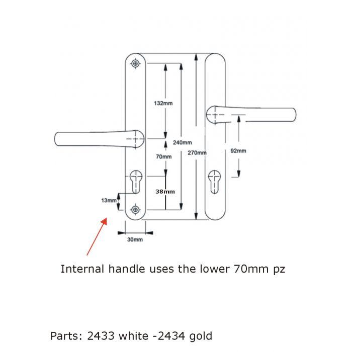 Cego Zenith Staybrite Upvc Door Handle Match 70mm PZ 215mm Screw Fix