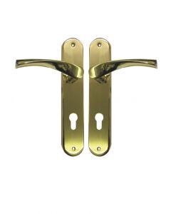 Ucem Scrolled or Swept Door Handle 85mm PZ 215mm Screw Face Fix 48mm Wide in Gold