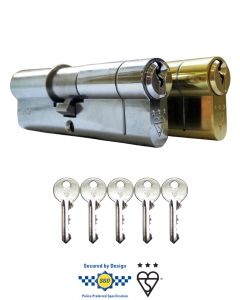 Kinetica 3 Star Cylinder Euro Door Lock Anti Snap BSI Kite Mark Secure