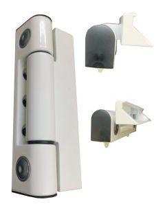 Paddock WEL Mila Butt Door Hinge 45 Degree Angle White Sidewind Rehau