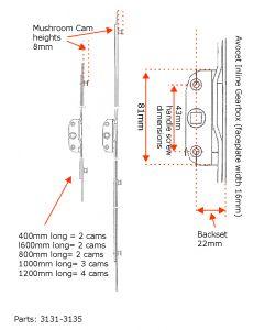 Avocet Inline Window Lock Rod 22mm Backset Mushroom Cam Upvc 400mm