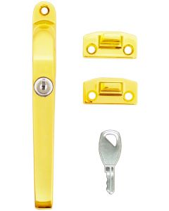 Timber Window Handle Fastener Lockable Polished Gold