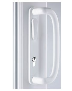 Mila inline patio handle Locking White With Lever Euro Cut Out
