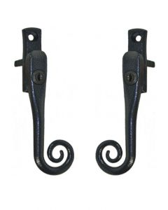 Monkey Tail Antique Black Cottage Window Handle Key Locking Left Right