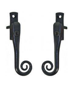 Monkey Tail Antique Black Cottage Window Handle Key Locking Left Right