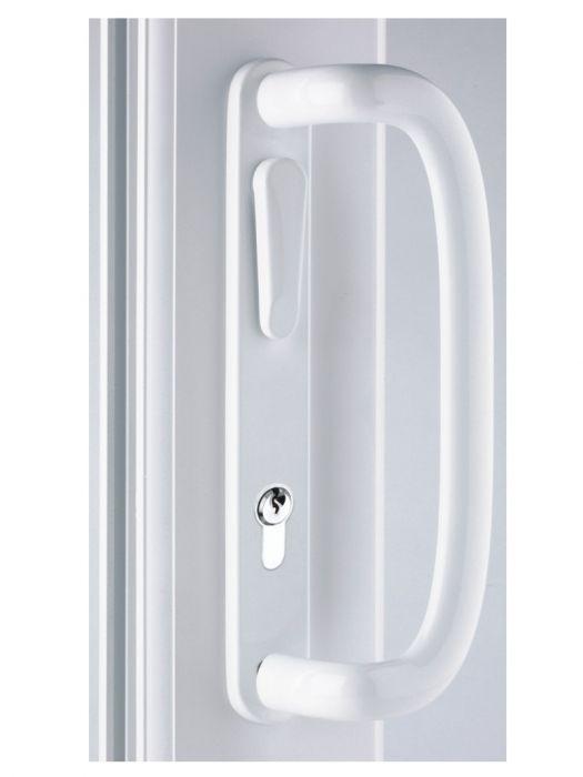 Mila Inline Patio Door Handle White Gold Chrome 109mm Screw Fix