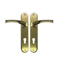 Ucem Scrolled Swept Door Handle 85mm PZ 215mm Screw Face Fix 48mm Wide